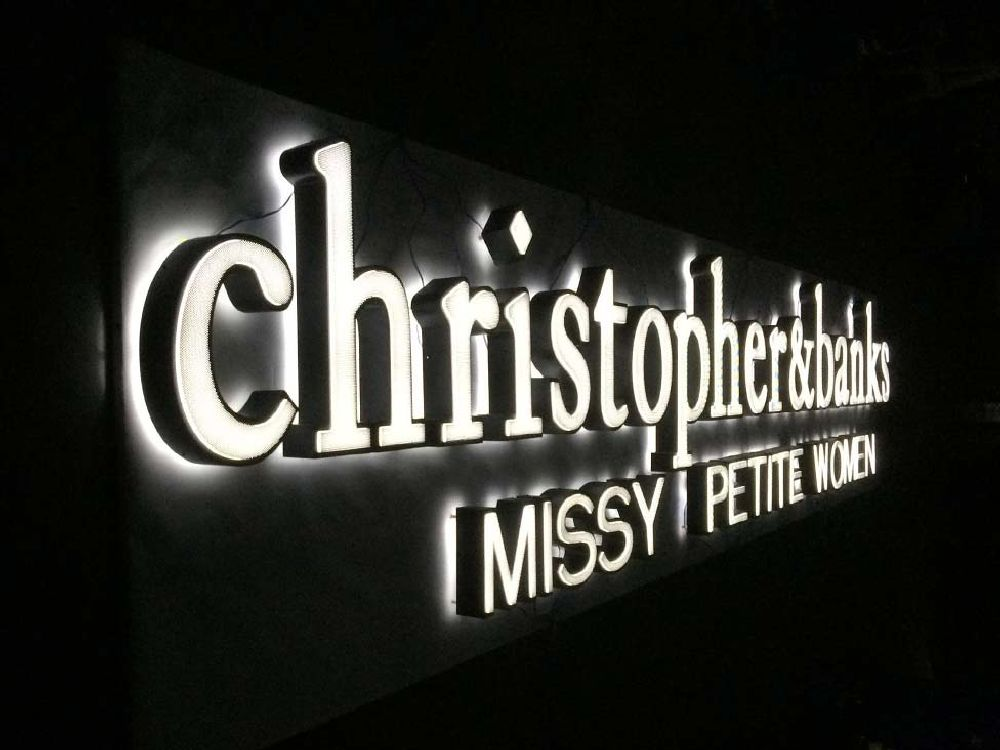 Christopher & Banks - Push Thru Face Halo Lit Sign - Shop Photo